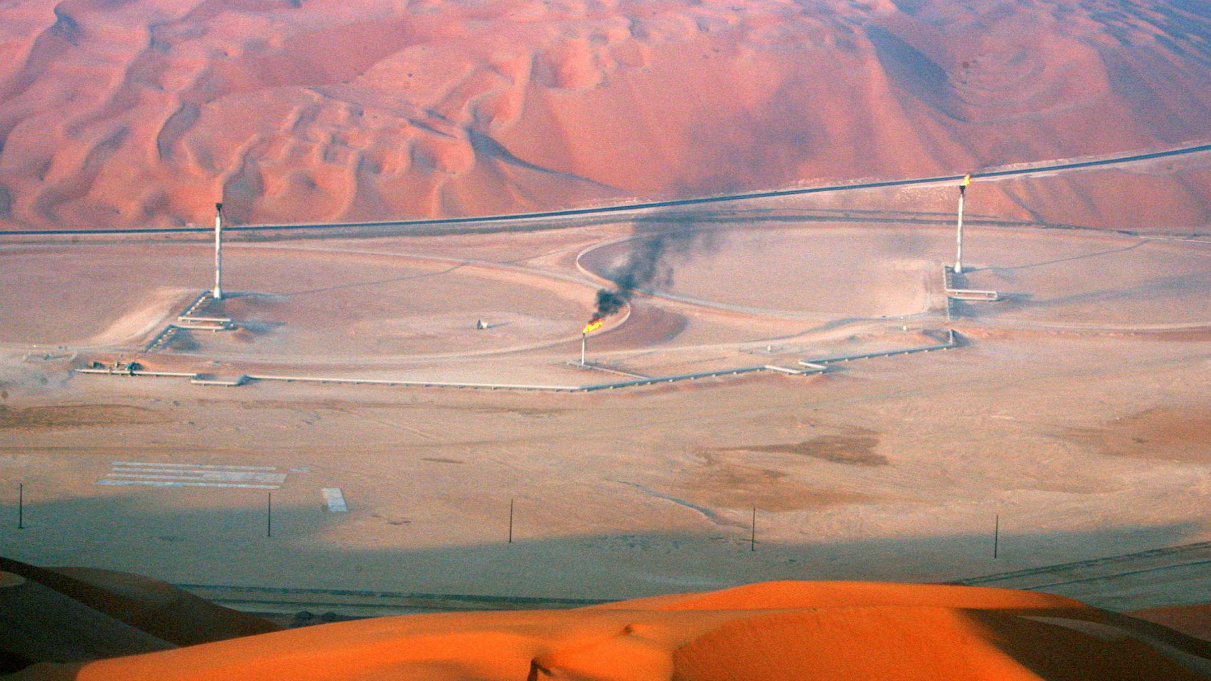 Børsnotering og salg av deler av Saudi-Arabias statlige oljeselskap Aramco har støtt på problemer. Bildet viser oljefeltet Shaybah i Rub' al-Khali-ørkenen.
