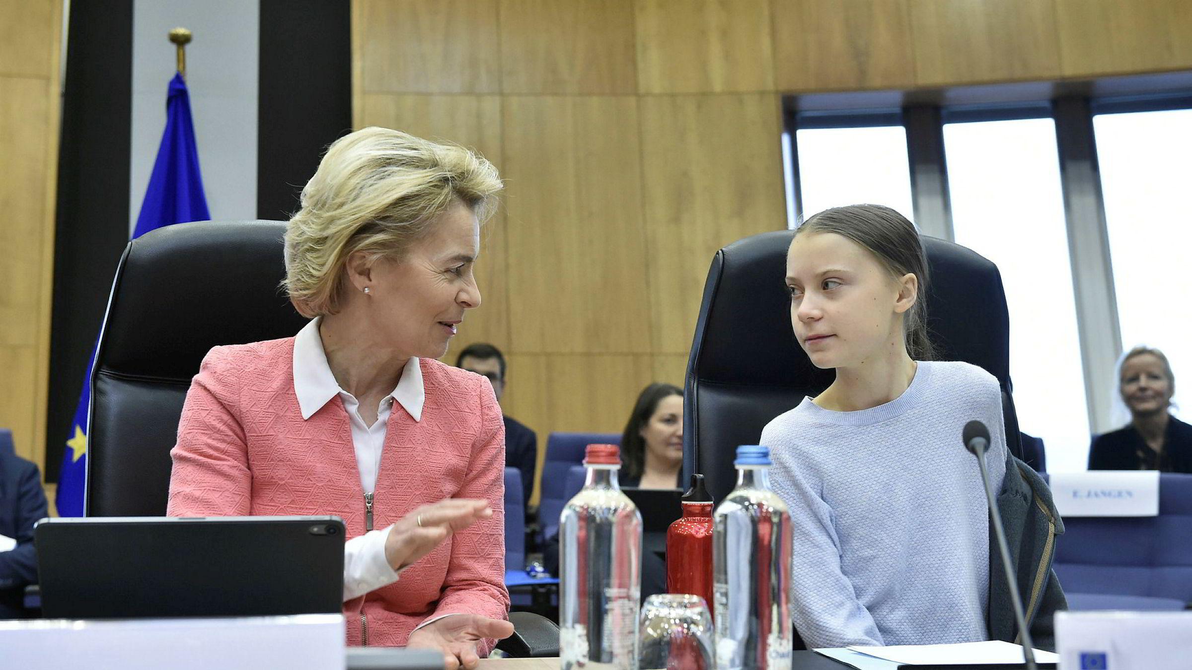 President i Europakommisjonen Ursula von der Leyen og miljøaktivisten Greta Thunberg (til høyre) har begge satt klima på dagsordenen. Vil koronakrisen føre til at klimapolitikken stopper opp?