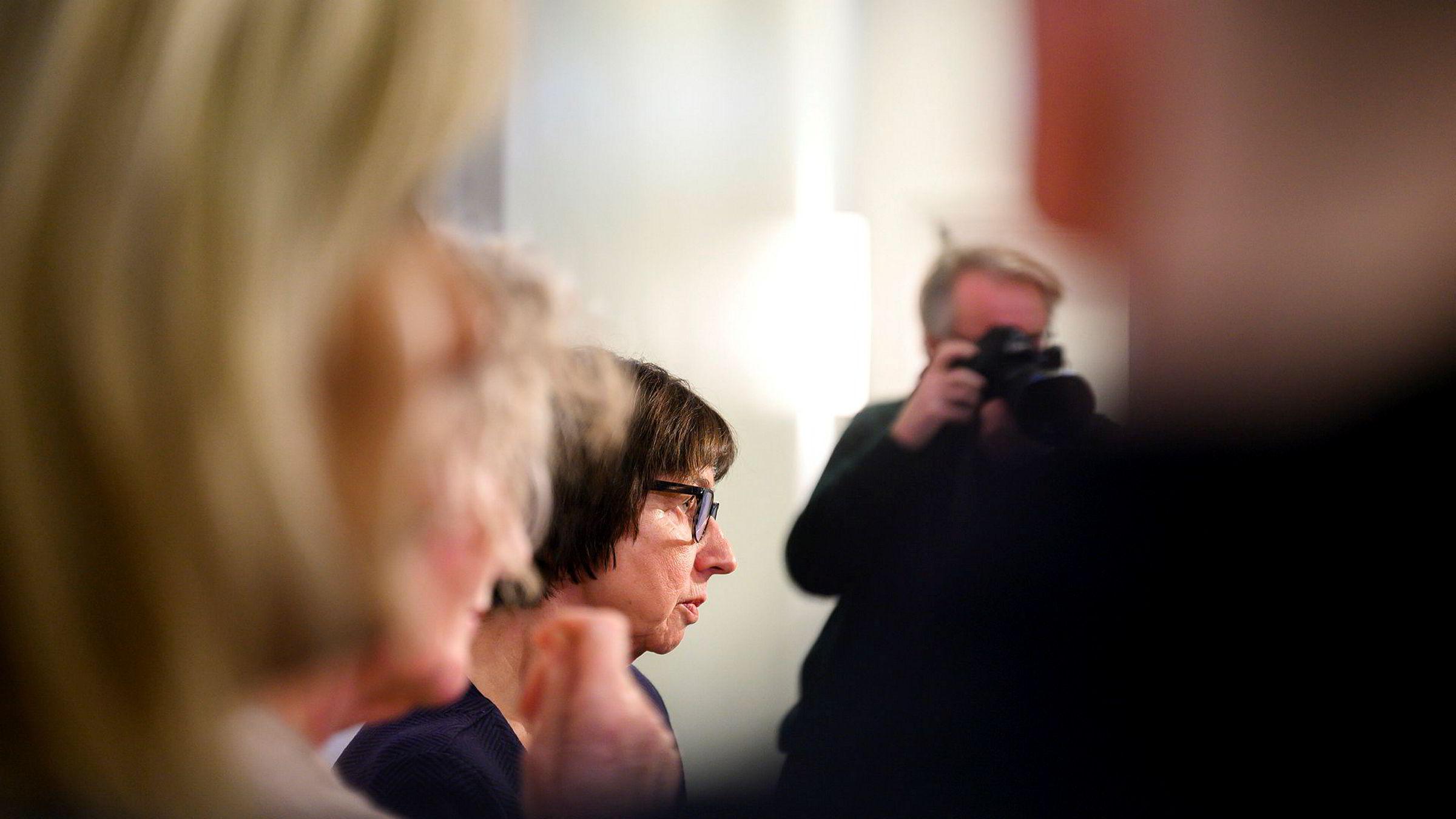 Nav-direktør Sigrun Vågeng på den åpne høringen tidligere i januar i Stortingets kontroll- og konstitusjonskomité om NAV-skandalen.