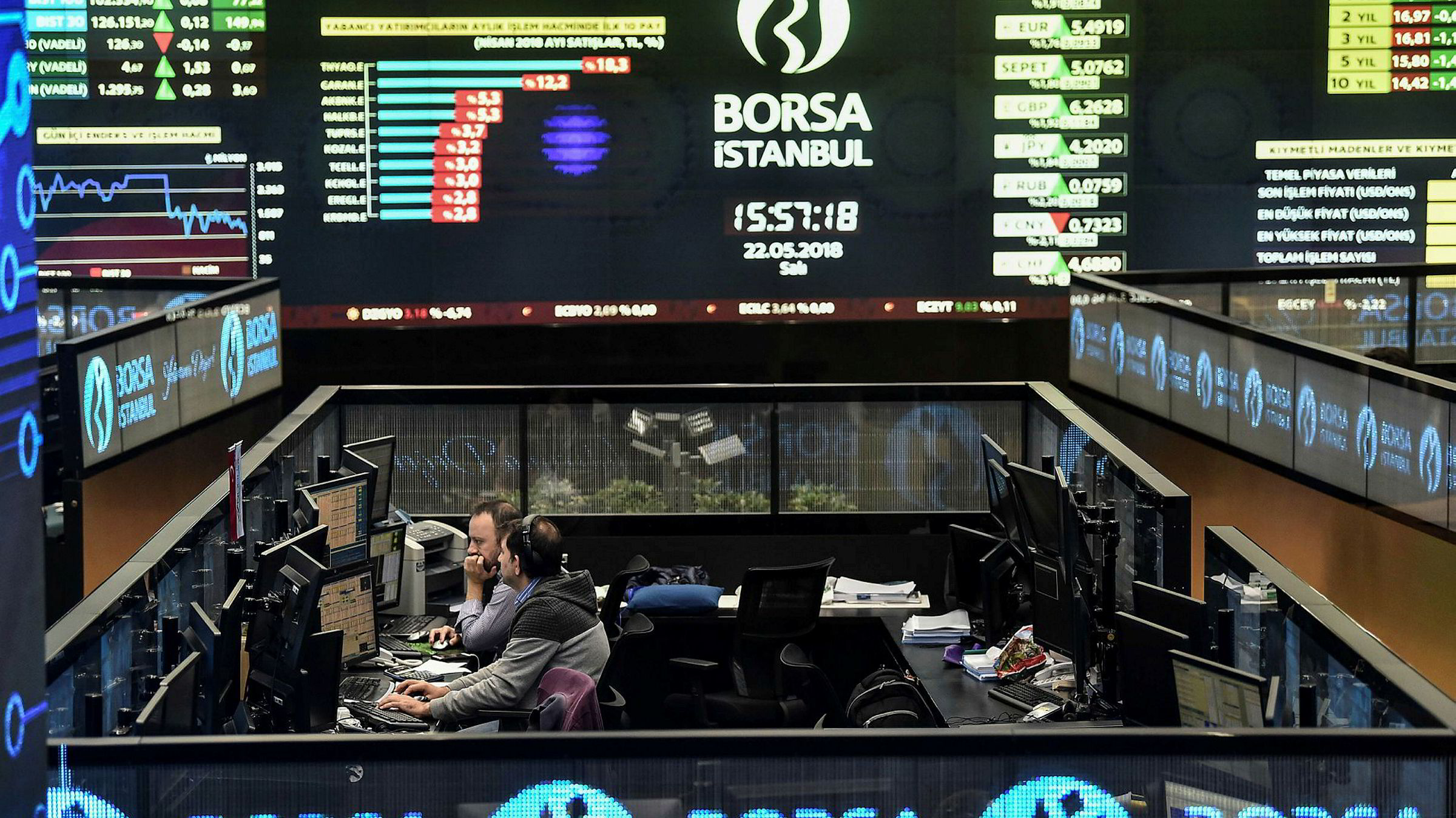 Spenningen på børsen her i Istanbul er nedadgående, i takt med at liraen de siste ukene har falt kraftig.