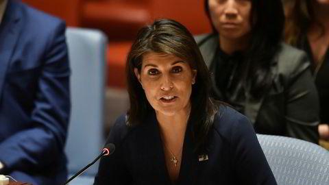 USA fikk mindre støtte fra de andre FN-landene ifjor. Det reagerer USAs FN-ambassadør Nikki Haley på.