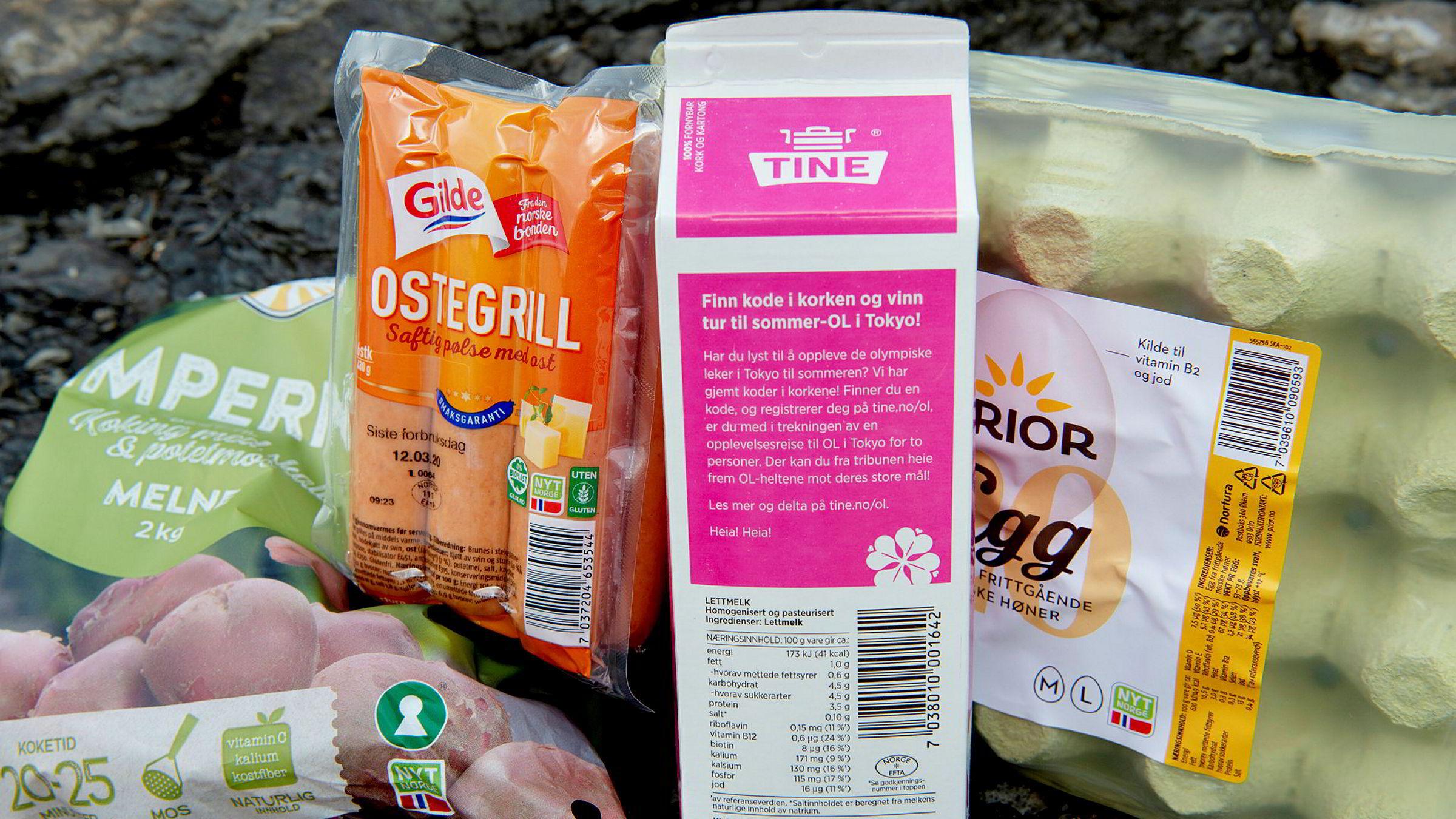 Matvarer med Nyt Norge-merket.
