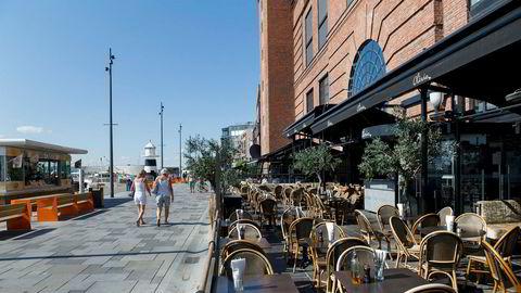 Olivia restauranten på Aker Brygge var blant de første restaurantene som åpnet opp etter den påtvungne stengningen som følge av koronaviruset. Bildet er tatt en sommerdag i 2014.
