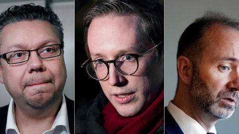 – Når jeg ser tilbake på ungdomstiden min er det mye jeg er stolt av, men det er også flere ting jeg skulle ønske at var ugjort, skrev Kristian Tonning Riise på Facebook da han annonserte at han trakk seg som leder i Unge Høyre. Fra venstre: Ulf Leirstein, Frp, tidligere Unge Høyre-leder Kristian Tonning Riise og Trond Giske tidligere nestleder i Ap.