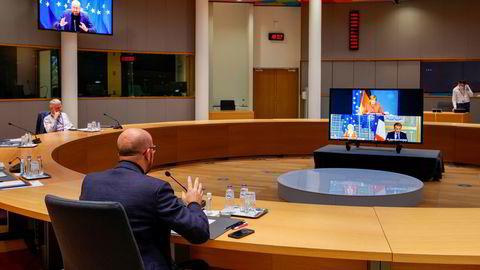 Varmer opp EU-rådets president Charles Michel tok en videoprat onsdag med Tysklands forbundskansler, Frankrikes president Emmanuel Macron og kommisjonspresident Ursula von der Leyen før de møtte resten av EU-toppene i samme rom torsdag.