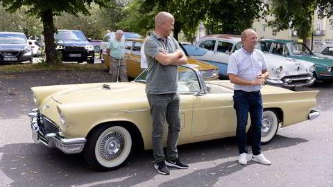 Partileder Trygve Slagsvold Vedum og Ole André Myhrvold fra Østfold Sp på biltur i Rakkestad før valget. I energipolitikken er partiet i ferd med å manøvrere seg inn på en nasjonal blindvei.