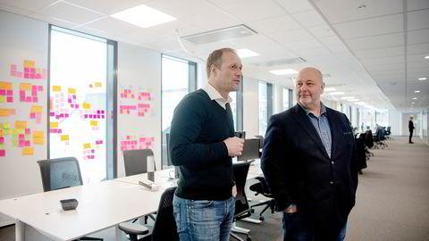 Optimismen var stor da it-gründer Frode Eilertsen (til venstre) og Varner-direktør Knut Vidar Nilsen presenterte den digitale strategien. Etter et knapt år ble det brudd.