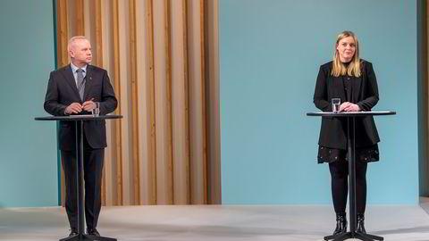 Equinors nye regnskapspraksis holdes under oppsyn av Olje- og energidepartementet. Her representert ved henholdsvis konsernsjef Anders Opedal og statsråd Tina Bru.