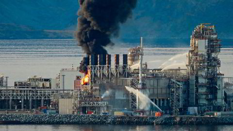 Brann på Equinors gassanlegg på Melkøya ved Hammerfest i september i fjor.