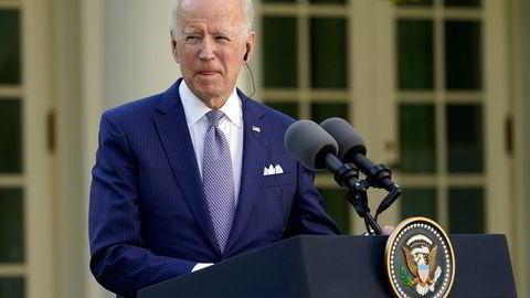 President Joe Biden  på en pressekonferanse før helgen. Biden-doktrinens største svakhet er Kina, skriver artikkelforfatteren.