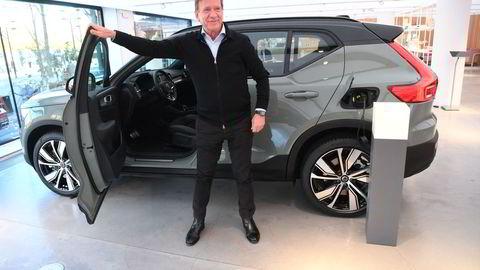 Volvo Cars-toppsjef Hakan Samuelsson under en presentasjon av Volvo XC40 Recharge, en plugin hybrid suv, i Stockholm 18. oktober 2021.