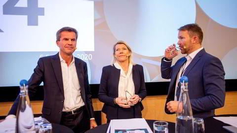 Finansdirektør Ottar Ertzeid (til venstre) sammen med konserndirektør Kjerstin Braathen og kommunikasjonsdirektør Thomas Midteide.