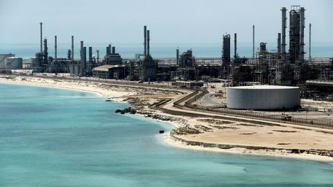 Brent, the international benchmark, reached a three-year high on Tuesday as the disagreement between Saudi Arabia, Opec's de facto leader, and the UAE, a close, previously co-operative partner, triggered a briefing war between the two camps. Pictured: Saudi Aramco's Ras Tanura oil refinery and oil terminal in Saudi Arabia.