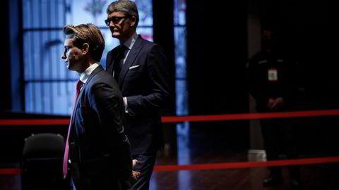 Kristian Røkke, administrerende direktør i Aker Horizons og Øyvind Eriksen, konsernsjef i Aker trakk seg fra kjøpet av NBT i januar. Nå sliter NBT med låneforfall.