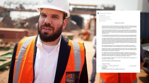 Israeli billionaire Dan Gertler at a mine complex in the Democratic Republic of Congo. Norwegian diplomat Tor Wennesland wrote a letter about his efforts for Norwegian authorities. Photograph: Simon Dawson/Bloomberg and screenshot