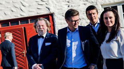 Fra venstre, Odd Reitan, Magnus Reitan, Ole Robert Reitan og finansdirektør Kristin Genton, Reitangruppen.