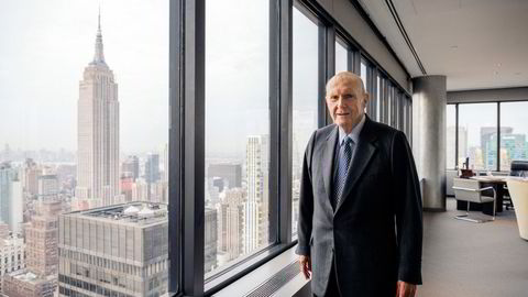 Julian Robertson refused to embrace internet stocks during the late 1990s dotcom boom and lost 19 per cent in 1999 – before his view was ultimately proved right. Pictured in 2017, at his penthouse office, midtown Manhattan.
