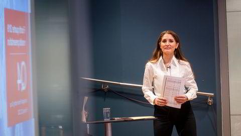 Bank Norwegian-toppsjef Tine Wollebekk. Selskapet legger frem resultater for første kvartal onsdag.