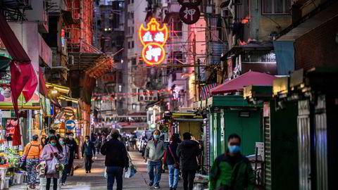 Kinesiske investorer har investert rekordstore beløp ved Hongkong-børsen siden nyttår. Her fra Kowloon i Hongkong.