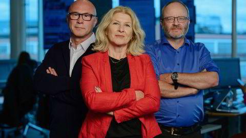 Finansredaktør Terje Erikstad, kommentator Anita Hoemsnes og børskommentator i DN Thor Chr. Jensen. Finansredaksjonen.