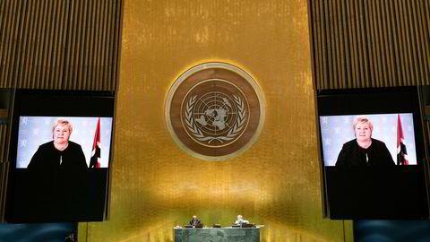Felles tiltak mot pandemien var sentralt tema under Generalforsamlingen i FN denne uken. Avtroppende statsminister, Erna Solberg, talte onsdag.