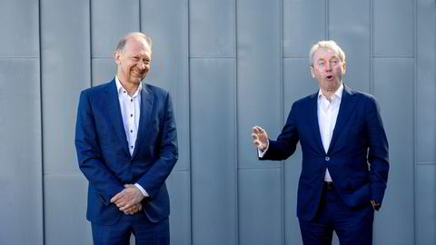 Konsernsjef Jarle Roth (t.v.) har tilbrakt det siste året på Teams-møter fra syv til morgen til syv på kvelden, forteller styreleder Jens Ulltveit-Moe.