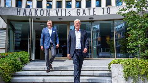 Styreleder Gert W. Munthe (til venstre) og administrerende direktør Øystein Rekdal i Lytix Biopharma.