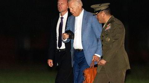 President Joe Biden kom tirsdag tilbake til Washington, D.C. etter å ha tilbrakt den siste tiden på feriestedet Camp David.