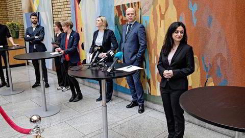 Ikke minst med Sylvi Listhaugs gjennomtrengende utestemme har Frp i flere saker gått sammen med partier på venstresiden, skriver artikkelforfatteren. Fra venstre: Bjørnar Moxnes (R), Kari Elisabeth Kaski (SV), Sylvi Listhaug (Frp), Trygve Slagsvold Vedum (SP) og Hadia Tajik (Ap)