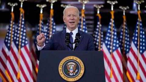 President Joe Biden presenterte sin infrastrukturplan i en tale i Carpenters Pittsburgh Training Center onsdag.