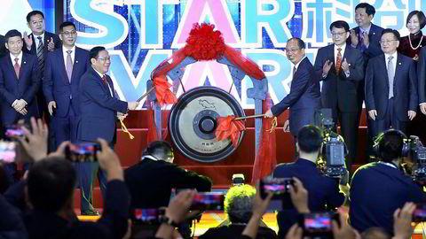 Toppolitikerne Li Qiang og Yi Huiman erklærer Star Market for åpen i juli 2019.