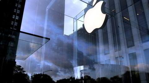 Apple-logoen ved en butikk i Manhattan.