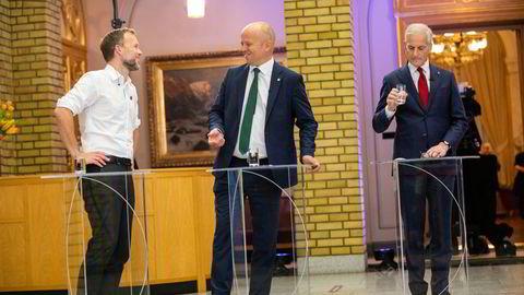Hvis Jonas Gahr Støre får det som han vil, kommer Norges neste regjering til å bestå av Arbeiderpartiet, Audun Lysbakkens SV og Trygve Slagsvold Vedums Senterpartiet.