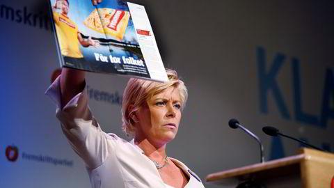 I 2007 het det fortsatt formann i Fremskrittspartiet. Siv Jensen hadde da ledet partiet i et år. Her er hun på talerstolen under landsmøtet på Hell.