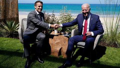 12. juni på G7-møtet var stemningen hjertelig, nå er forholdet mellom presidentene Emmanuel Macron og Joe Biden på et lavmål på grunn av ubåtkrisen.
