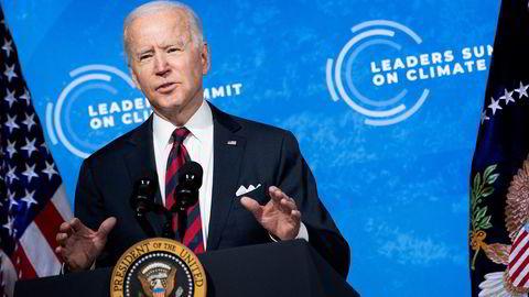 USAs president Joe Biden på torsdagens virtuelle klimatoppmøte.