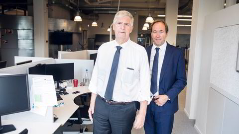 Konsernsjef Svenn-Tore Larsen og finansdirektør Pål Elstad i Nordic Semiconductor presenterte tirsdag en vekst på 67 prosent for andre kvartel, noe som bidro til nytt løft for aksjen som har steget 660 prosent på 16 måneder.