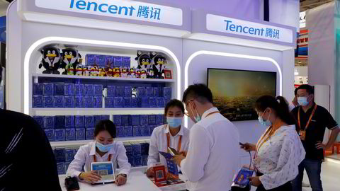Asias mest verdifulle børsnoterte selskap er under kraftig press fra kinesiske myndigheter. Selskapet kontrollerer 40 prosent av dataspillmarkedet. Her fra messen «China International Fair for Trade in Services (CIFTIS)» i Beijing i september.