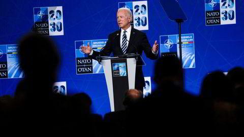 USAs president på pressekonferanse etter Natos toppmøte 14. juni. I erklæringen fra møtet ble det vist til «systemiske utfordringer» i omtalen av Kina.