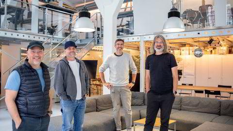 Sanity har kontorer i San Francisco og på Grünerløkka i Oslo. Her (fra venstre): Even Westvang, Øyvind Rostad, Magnus K. Hillestad og Simen Svale Skogsrud i lokalene i Oslo.
