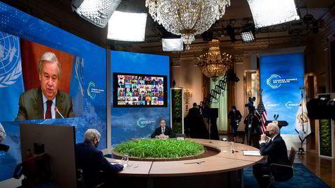 USAs klimautsending John Kerry, utenriksminister Antony Blinken og president Joe Biden hørte alle på da FNs generalsekretær António Guterres talte på det digitale klimatoppmøtet denne uken.