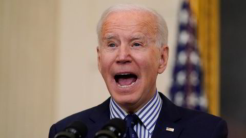 President Joe Biden talte i Det hvite hus etter at Senatet godkjente hans såkalte redningsplan for USA, til en prislapp på rundt 16.000 milliarder norske kroner.