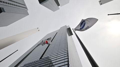 Samsung har befestet posisjonen som verdens største smarttelefonprodusent – med god hjelp fra amerikanske sanksjoner mot Huawei. Her fra Samsungs hovedkontor i Seocho-bygningen i Seoul.