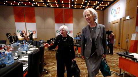 Markedene er opptatt av signaler disse to kommer med på torsdag, USAs tidligere sentralbanksjef, nå finansminister, Janet Yellen (til venstre) og Christine Lagarde, sjefen for Den europeiske sentralbanken (ECB).