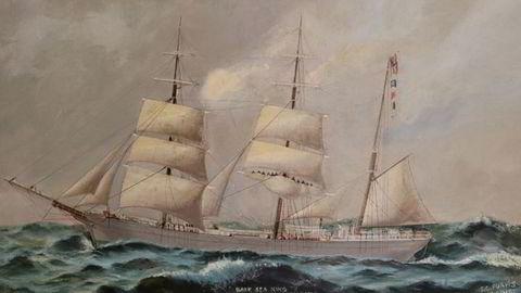 Min oldefar var stuert på seilskute, skriver artikkelforfatteren. Bildet viser bark «Sea King» av Mandal og er i privat eie av Henrik Ihme.