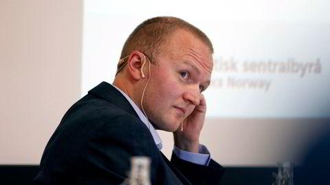 Statistisk sentralbyrå (SSB) la fredag morgen frem nye prognoser for norsk økonomi. Her SSB-forsker Thomas von Brasch.