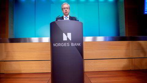 Lave og fallende renter fører til at eiendeler øker i verdi, skriver Gøril Bjerkan. Øystein Olsen (bildet) er sentralbanksjef og har ansvar for styringsrenten.
