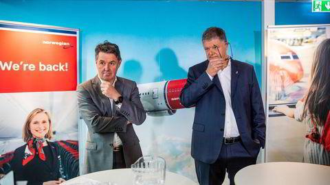Ekstoppsjef Jacob Schram (til høyre) og ny toppsjef Geir Karlsen i Norwegian fikk 11 millioner kroner hver i hemmelig bonus.