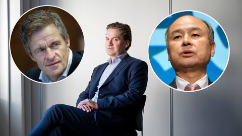 Jan Haudemann-Andersen (innfelt, venstre), Eilert Hanoa (i midten) og Softbank, avbildet ved toppsjef Masayoshi Son er Kahoots tre største eiere.