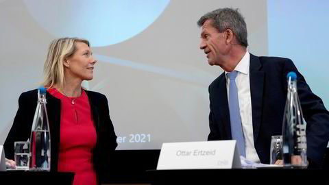 DNB-sjef Kjerstin Braathen og finansdirektør Ottar Ertzeid.